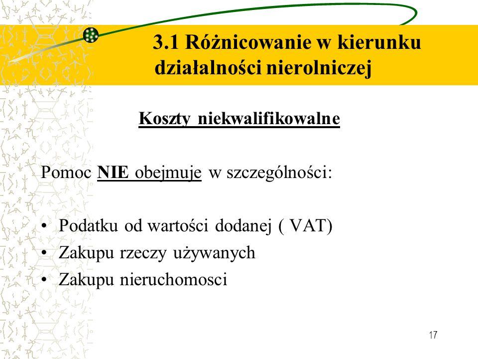 17 3.1 Różnicowanie w kierunku działalności nierolniczej Koszty niekwalifikowalne Pomoc NIE obejmuje w szczególności: Podatku od wartości dodanej ( VAT) Zakupu rzeczy używanych Zakupu nieruchomosci