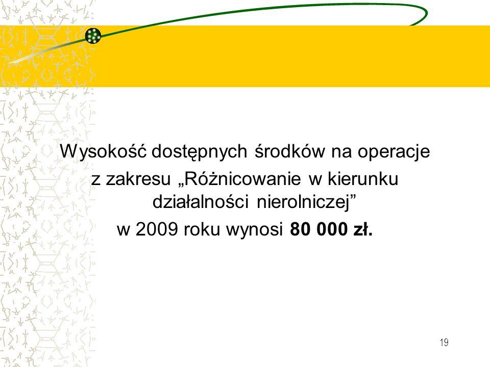 19 Wysokość dostępnych środków na operacje z zakresu Różnicowanie w kierunku działalności nierolniczej w 2009 roku wynosi 80 000 zł.