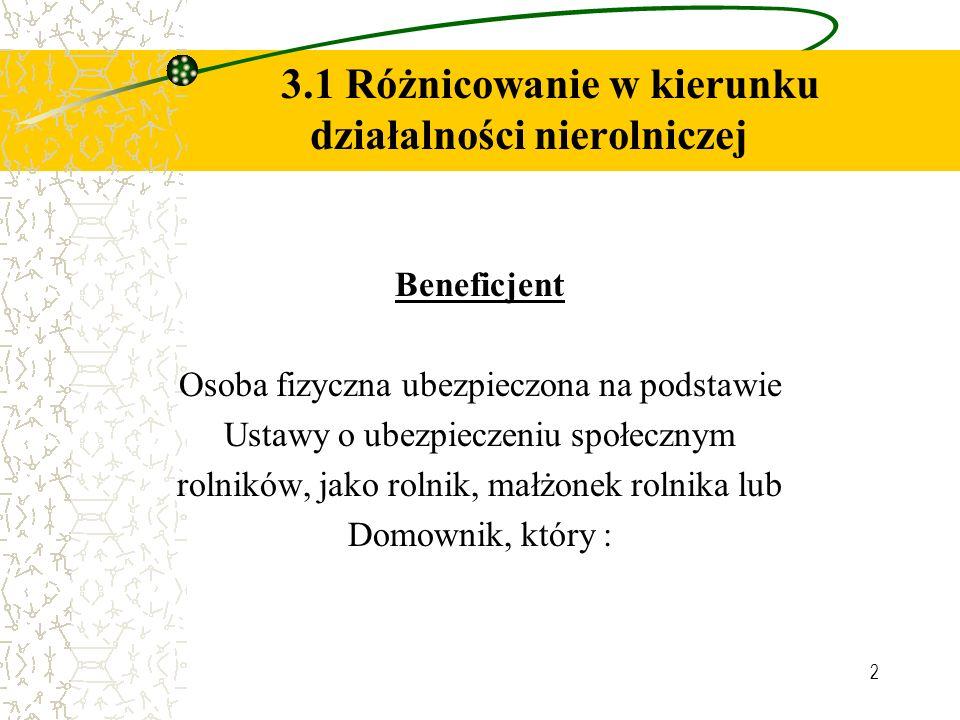 2 3.1 Różnicowanie w kierunku działalności nierolniczej Beneficjent Osoba fizyczna ubezpieczona na podstawie Ustawy o ubezpieczeniu społecznym rolnikó