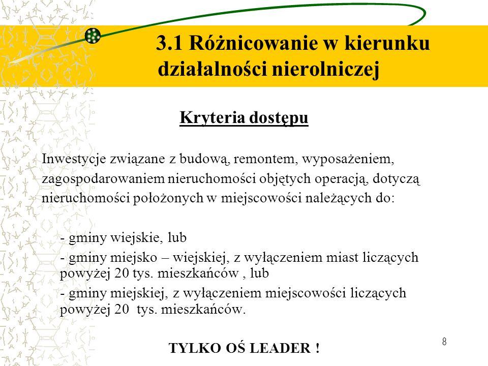 8 3.1 Różnicowanie w kierunku działalności nierolniczej Kryteria dostępu Inwestycje związane z budową, remontem, wyposażeniem, zagospodarowaniem nieru