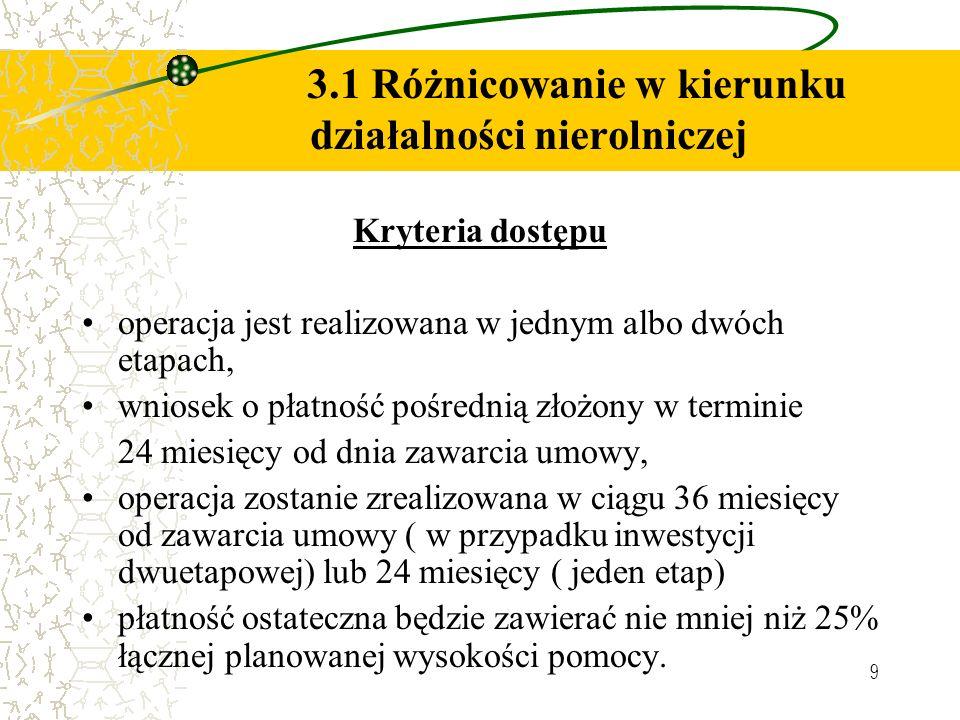 9 3.1 Różnicowanie w kierunku działalności nierolniczej Kryteria dostępu operacja jest realizowana w jednym albo dwóch etapach, wniosek o płatność poś