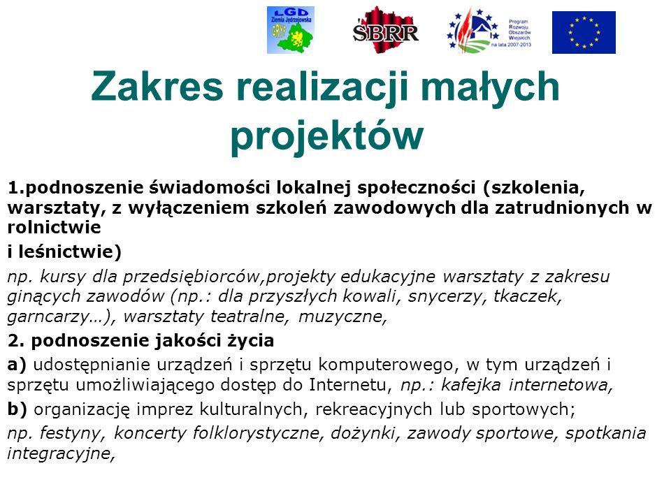 Zakres realizacji małych projektów 1.podnoszenie świadomości lokalnej społeczności (szkolenia, warsztaty, z wyłączeniem szkoleń zawodowych dla zatrudn
