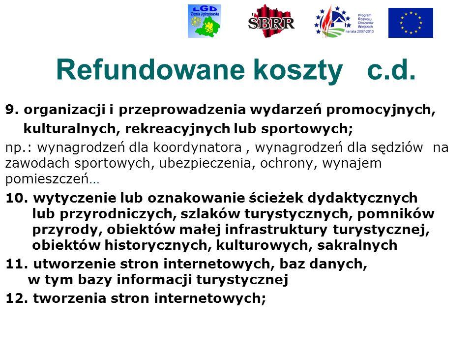 Refundowane koszty c.d. 9. organizacji i przeprowadzenia wydarzeń promocyjnych, kulturalnych, rekreacyjnych lub sportowych; np.: wynagrodzeń dla koord