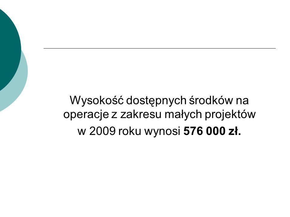 Wysokość dostępnych środków na operacje z zakresu małych projektów w 2009 roku wynosi 576 000 zł.