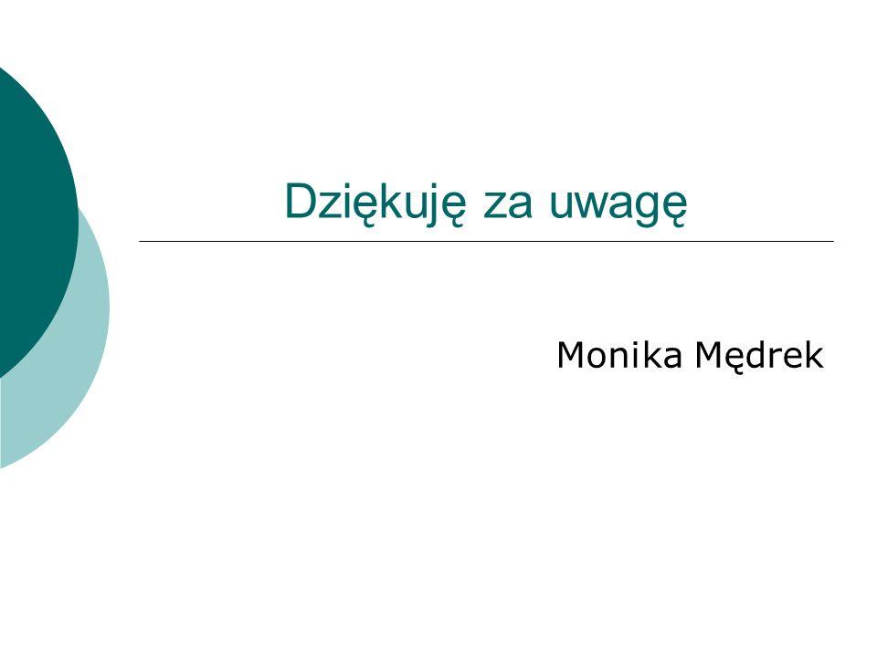 Dziękuję za uwagę Monika Mędrek