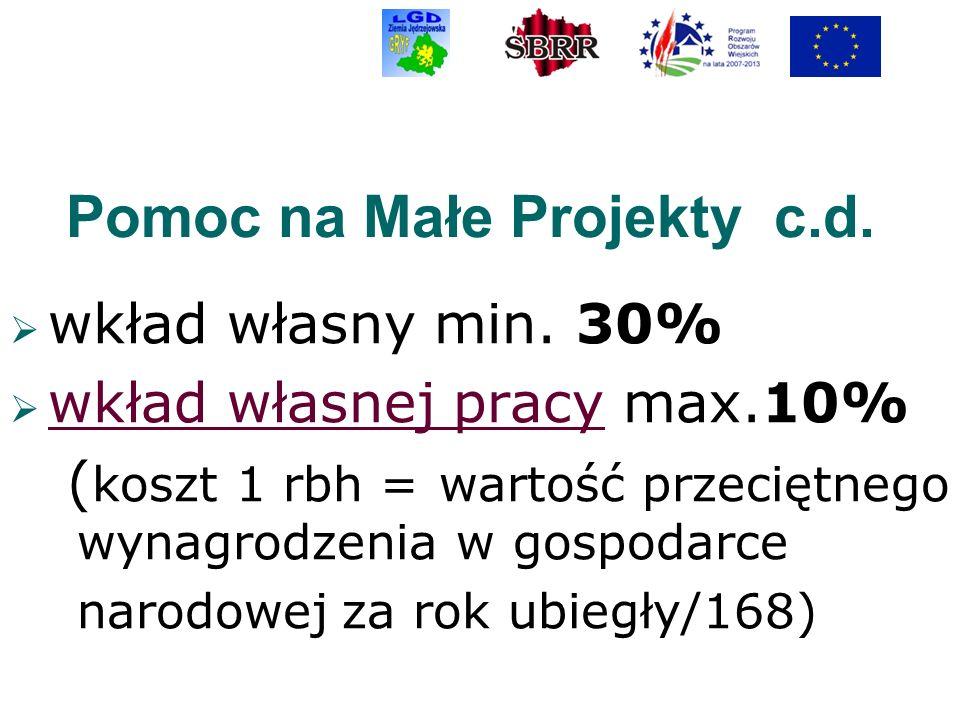 Pomoc na Małe Projekty c.d. wkład własny min. 30% wkład własnej pracy max.10% ( koszt 1 rbh = wartość przeciętnego wynagrodzenia w gospodarce narodowe