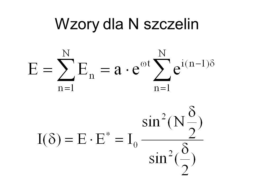 Wzory dla N szczelin