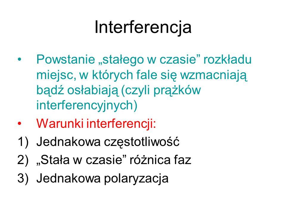 Interferencja Powstanie stałego w czasie rozkładu miejsc, w których fale się wzmacniają bądź osłabiają (czyli prążków interferencyjnych) Warunki inter