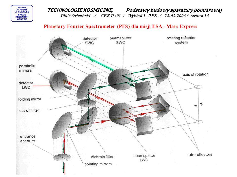 Interferometr Centralny procesor Zasilacz Skaner Planetary Fourier Spectrometer (PFS) dla misji ESA - Mars Express TECHNOLOGIE KOSMICZNE, Podstawy budowy aparatury pomiarowej Piotr Orleański / CBK PAN / Wykład 1_PFS / 22.02.2006 / strona 14