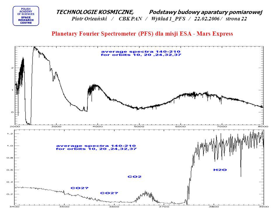 Testy skanera spektrometru fourierowskiego PFS Planetary Fourier Spectrometer (PFS) dla misji ESA - Mars Express TECHNOLOGIE KOSMICZNE, Podstawy budowy aparatury pomiarowej Piotr Orleański / CBK PAN / Wykład 1_PFS / 22.02.2006 / strona 21