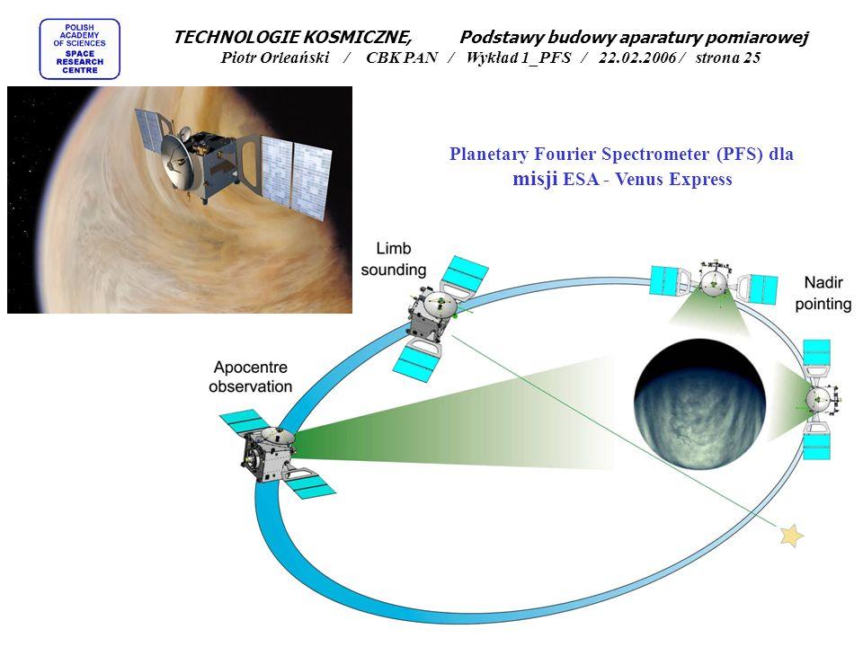 Artystyczna wizja satelity Mars Express TECHNOLOGIE KOSMICZNE, Podstawy budowy aparatury pomiarowej Piotr Orleański / CBK PAN / Wykład 1_PFS / 22.02.2006 / strona 24 ESAs Mars Express spacecraft was photographed by NASA s Mars Global Surveyor on 20 April 2005.