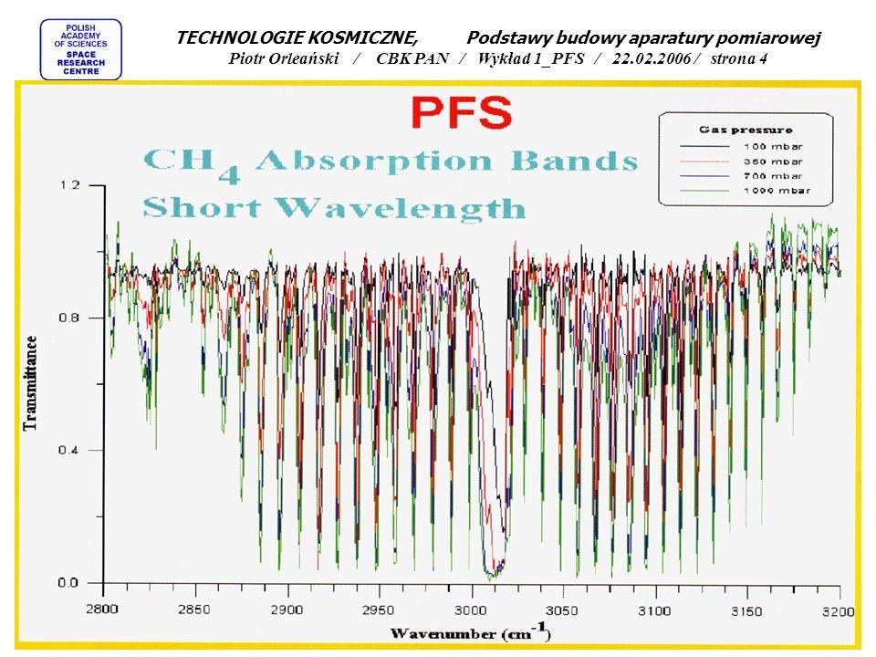 Dwa typy pomiarów za pomocą spektrometrów fourierowskich TECHNOLOGIE KOSMICZNE, Podstawy budowy aparatury pomiarowej Piotr Orleański / CBK PAN / Wykład 1_PFS / 22.02.2006 / strona 3