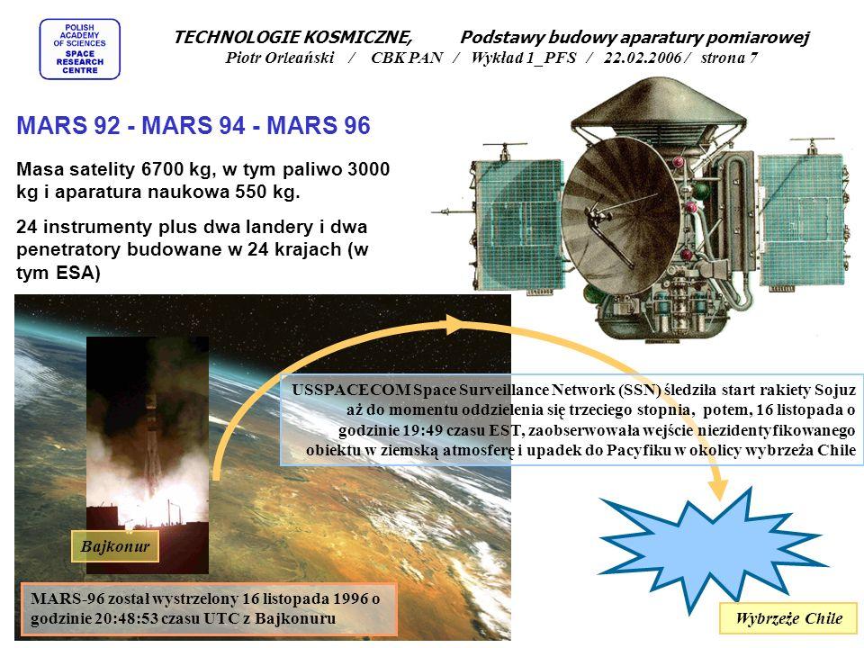 Laser referencyjny Detektor chłodzony w układzie Sterlinga Silnik liniowy Zwierciadło ruchome Zwierciadło nieruchome Sun pointing system Przykład spektrometru fourierowskiego - egzemplarz prototypowy (laboratoryjny) wykonany dla misji CESAR TECHNOLOGIE KOSMICZNE, Podstawy budowy aparatury pomiarowej Piotr Orleański / CBK PAN / Wykład 1_PFS / 22.02.2006 / strona 6