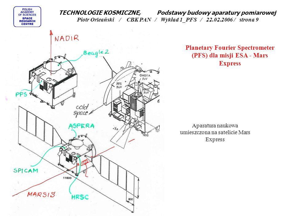 Planetary Fourier Spectrometer (PFS) dla misji ESA - Mars Express TECHNOLOGIE KOSMICZNE, Podstawy budowy aparatury pomiarowej Piotr Orleański / CBK PAN / Wykład 1_PFS / 22.02.2006 / strona 8