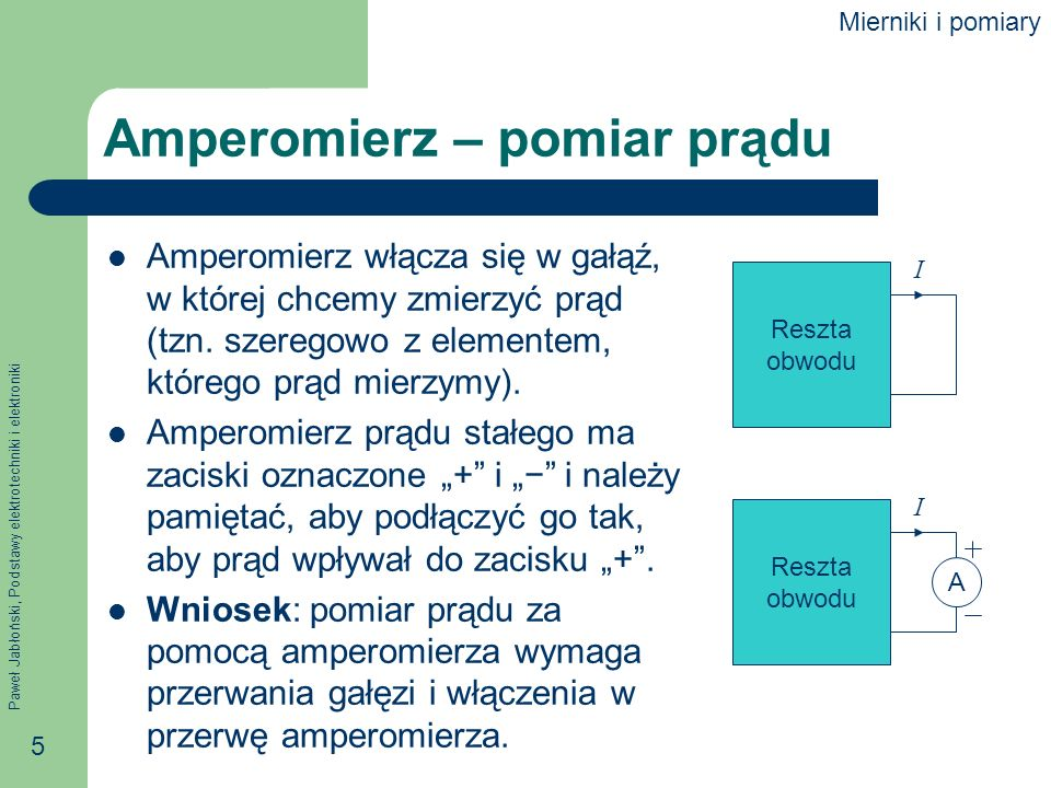Paweł Jabłoński, Podstawy elektrotechniki i elektroniki 5 Amperomierz – pomiar prądu Amperomierz włącza się w gałąź, w której chcemy zmierzyć prąd (tz