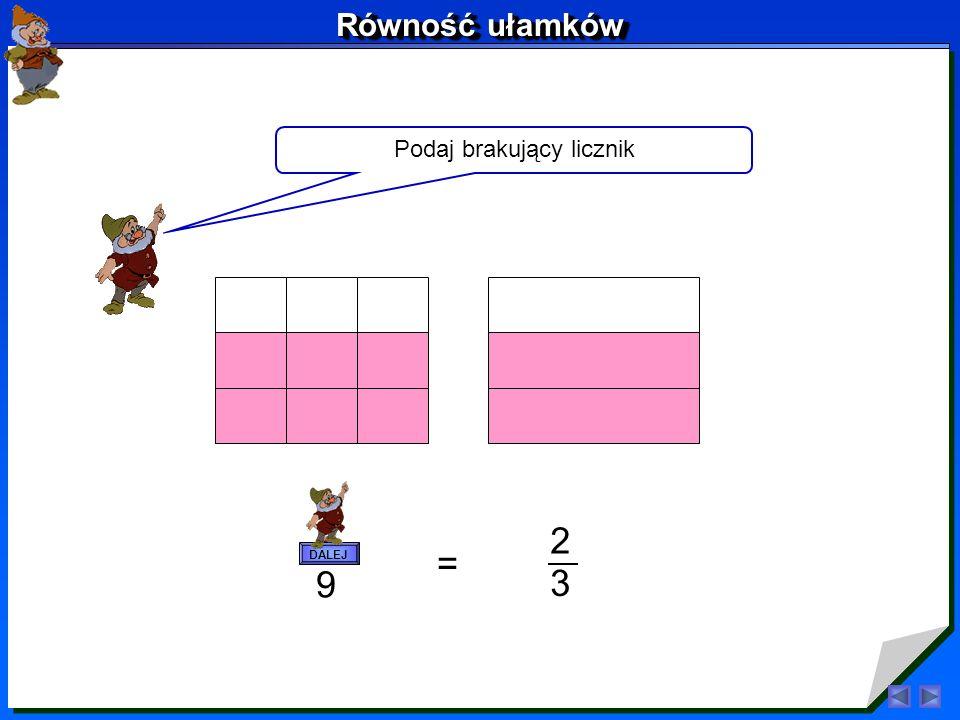 Popatrzmy na inne przykłady 1 4 2 8 = DALEJ Równość ułamków