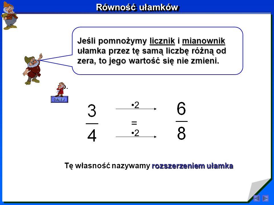 Co wynika z tych przykładów? Weźmy dwa równe sobie ułamki: = Porównajmy najpierw liczniki. Licznik drugiego ułamka jest dwa razy większy od licznika p