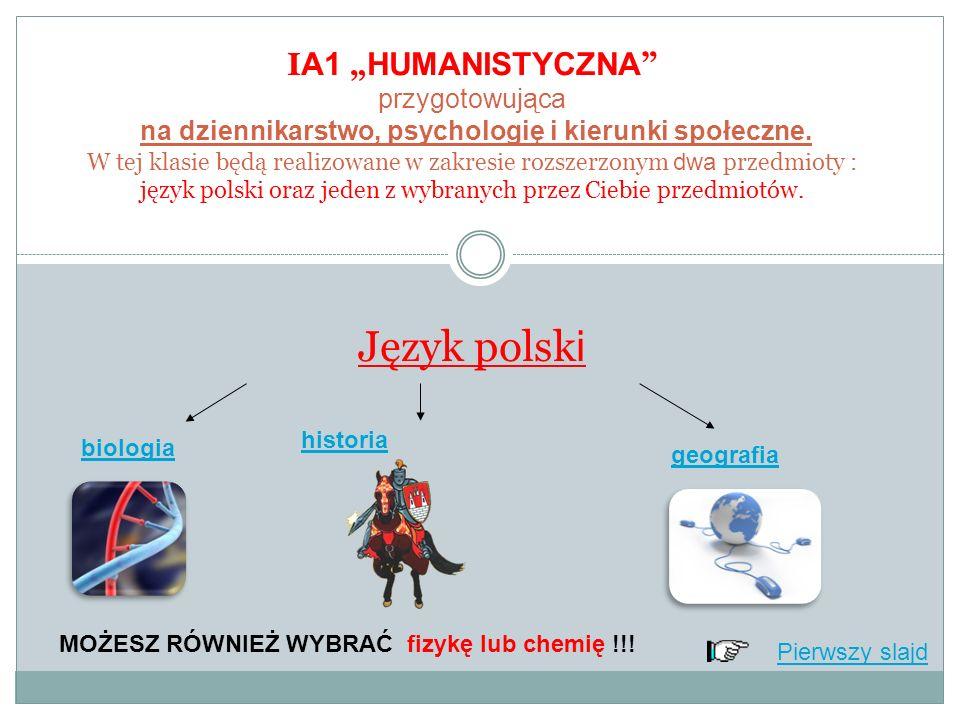 I A1 HUMANISTYCZNA przygotowująca na dziennikarstwo, psychologię i kierunki społeczne.