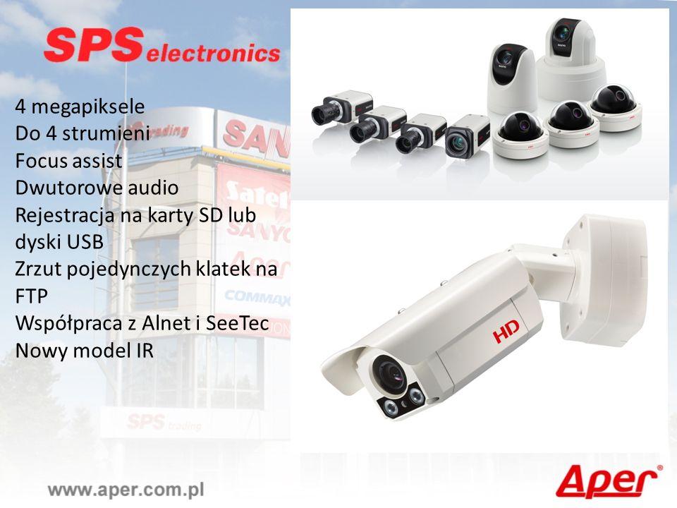 4 megapiksele Do 4 strumieni Focus assist Dwutorowe audio Rejestracja na karty SD lub dyski USB Zrzut pojedynczych klatek na FTP Współpraca z Alnet i