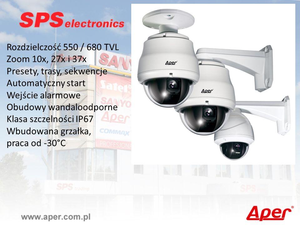 Rozdzielczość 550 / 680 TVL Zoom 10x, 27x i 37x Presety, trasy, sekwencje Automatyczny start Wejście alarmowe Obudowy wandaloodporne Klasa szczelności