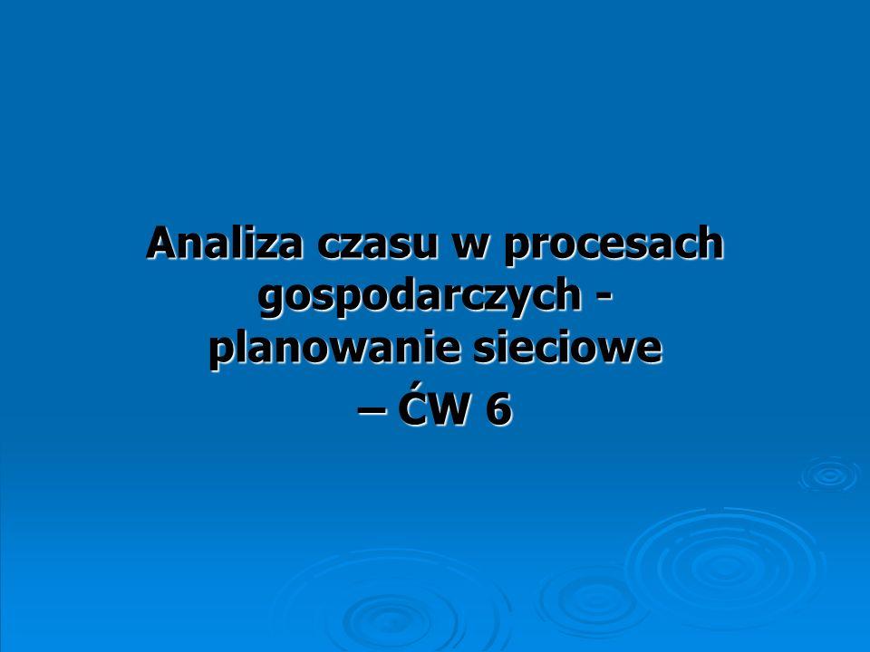 Analiza czasu w procesach gospodarczych - planowanie sieciowe – ĆW 6