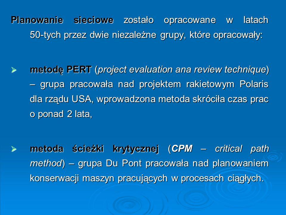 Planowanie sieciowe zostało opracowane w latach 50-tych przez dwie niezależne grupy, które opracowały: metodę PERT (project evaluation ana review tech