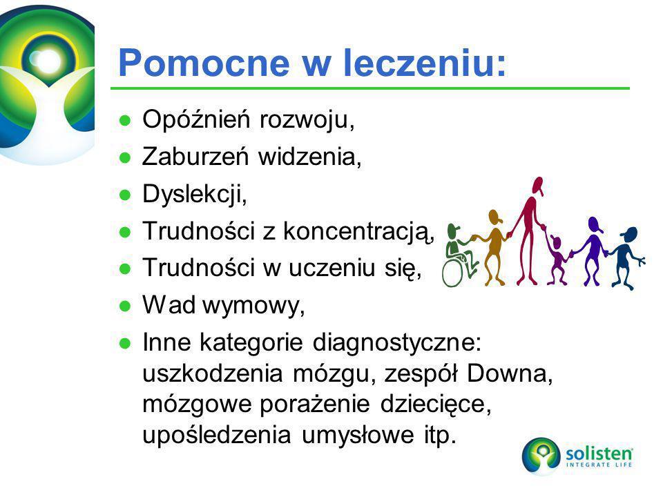 © Solisten LLC., 2009 Pomocne w leczeniu: Opóźnień rozwoju, Zaburzeń widzenia, Dyslekcji, Trudności z koncentracją, Trudności w uczeniu się, Wad wymow