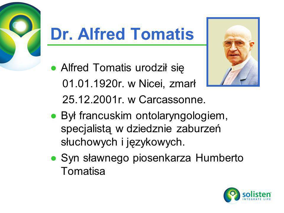 © Solisten LLC., 2009 Dr. Alfred Tomatis Alfred Tomatis urodził się 01.01.1920r. w Nicei, zmarł 25.12.2001r. w Carcassonne. Był francuskim ontolaryngo