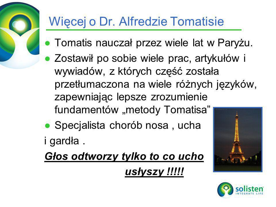 © Solisten LLC., 2009 Więcej o Dr. Alfredzie Tomatisie Tomatis nauczał przez wiele lat w Paryżu. Zostawił po sobie wiele prac, artykułów i wywiadów, z