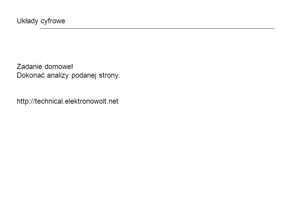 Układy cyfrowe Zadanie domowe! Dokonać analizy podanej strony. http://technical.elektronowolt.net