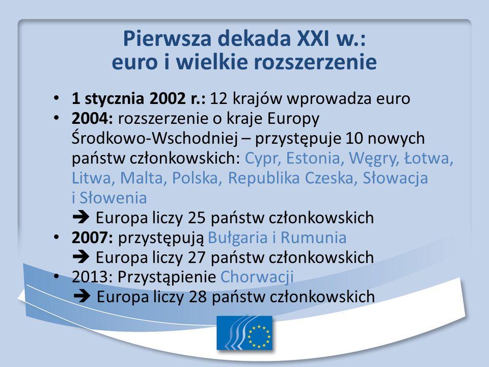 Pierwsza dekada XXI w.: euro i wielkie rozszerzenie 1 stycznia 2002 r.: 12 krajów wprowadza euro 2004: rozszerzenie o kraje Europy Środkowo Wschodniej