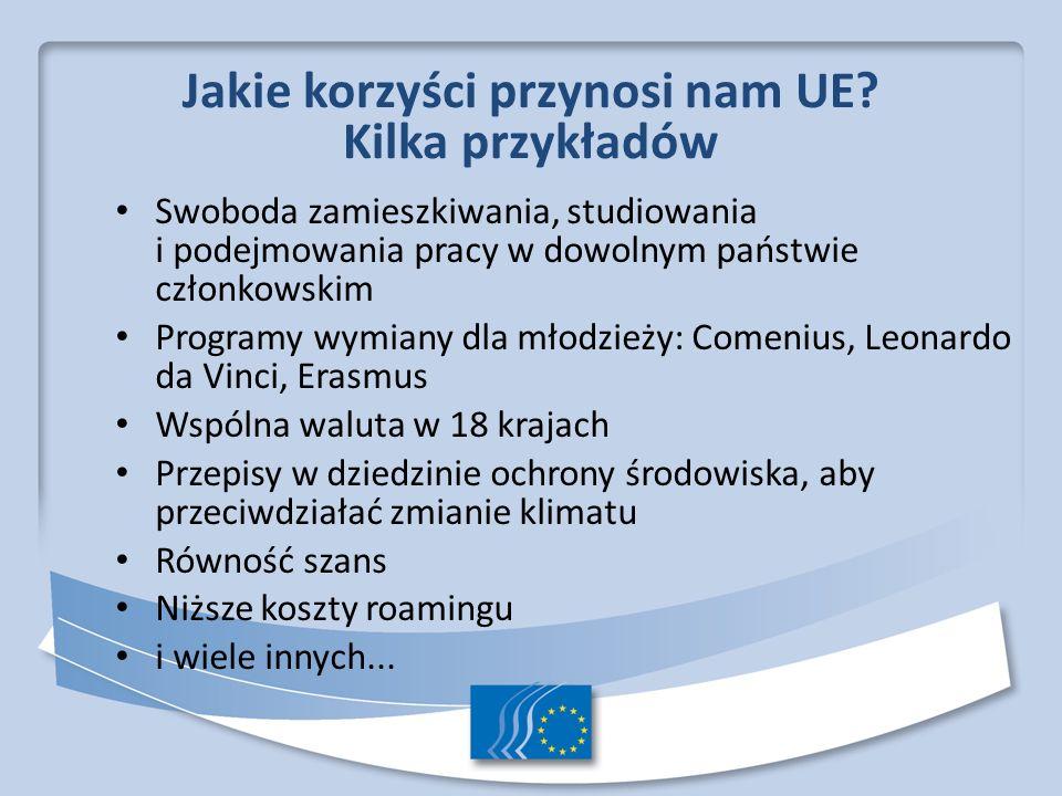 Jakie korzyści przynosi nam UE? Kilka przykładów Swoboda zamieszkiwania, studiowania i podejmowania pracy w dowolnym państwie członkowskim Programy wy