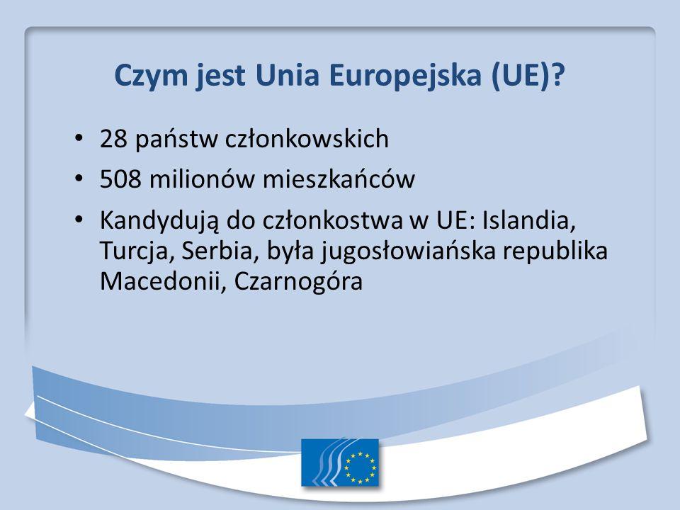 Czym jest Unia Europejska (UE)? 28 państw członkowskich 508 milionów mieszkańców Kandydują do członkostwa w UE: Islandia, Turcja, Serbia, była jugosło