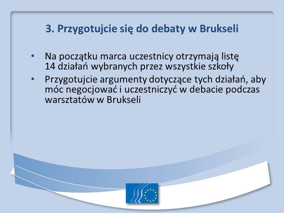 3. Przygotujcie się do debaty w Brukseli Na początku marca uczestnicy otrzymają listę 14 działań wybranych przez wszystkie szkoły Przygotujcie argumen