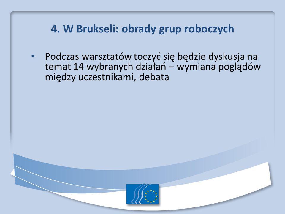 4. W Brukseli: obrady grup roboczych Podczas warsztatów toczyć się będzie dyskusja na temat 14 wybranych działań – wymiana poglądów między uczestnikam