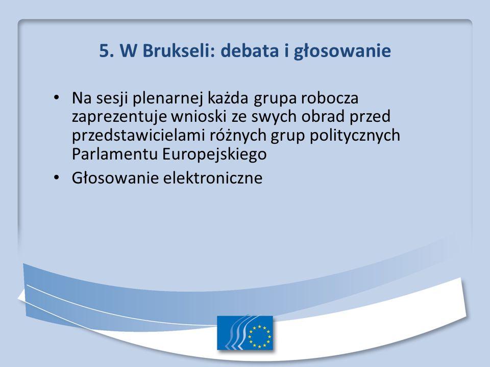 5. W Brukseli: debata i głosowanie Na sesji plenarnej każda grupa robocza zaprezentuje wnioski ze swych obrad przed przedstawicielami różnych grup pol