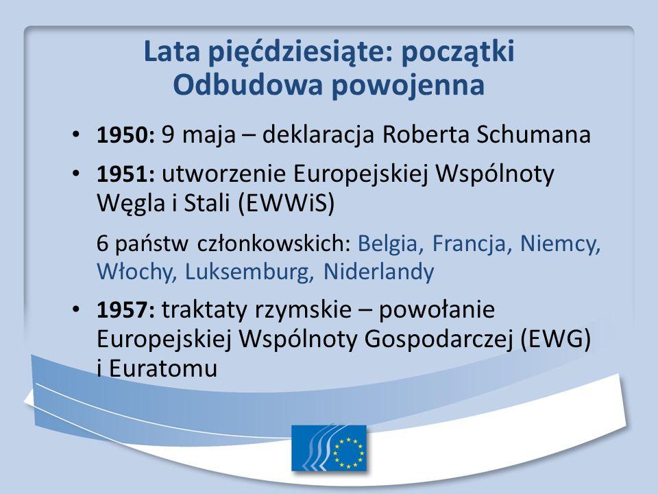 Lata sześćdziesiąte: fundamenty 1960: utworzenie Europejskiego Funduszu Społecznego 1962: wprowadzenie wspólnej polityki rolnej (WPR) 1968: zniesienie ceł