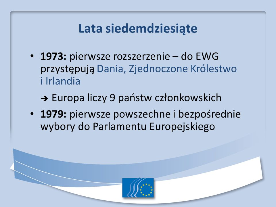 Lata osiemdziesiąte: konsolidacja Rozszerzenie o kraje Europy Południowej – przystępują Grecja (1981), Hiszpania i Portugalia (1986) Europa liczy 12 państw członkowskich 1986: Jednolity akt europejski 1990: w wyniku zjednoczenia Niemiec dawne Niemcy Wschodnie zostają przyłączone do EWG