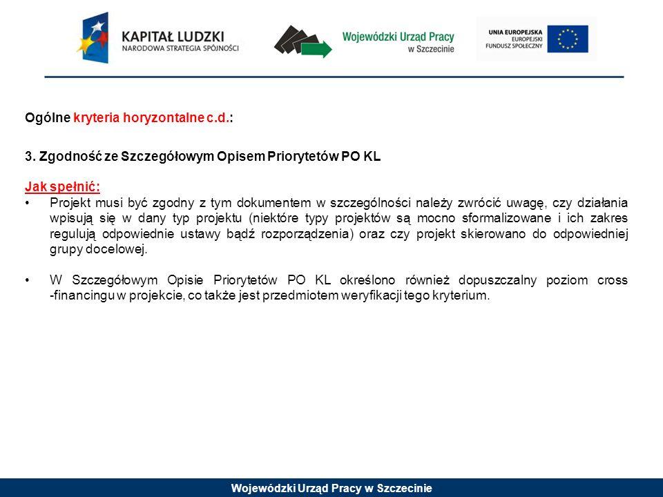 Wojewódzki Urząd Pracy w Szczecinie Ogólne kryteria horyzontalne c.d.: 3. Zgodność ze Szczegółowym Opisem Priorytetów PO KL Jak spełnić: Projekt musi