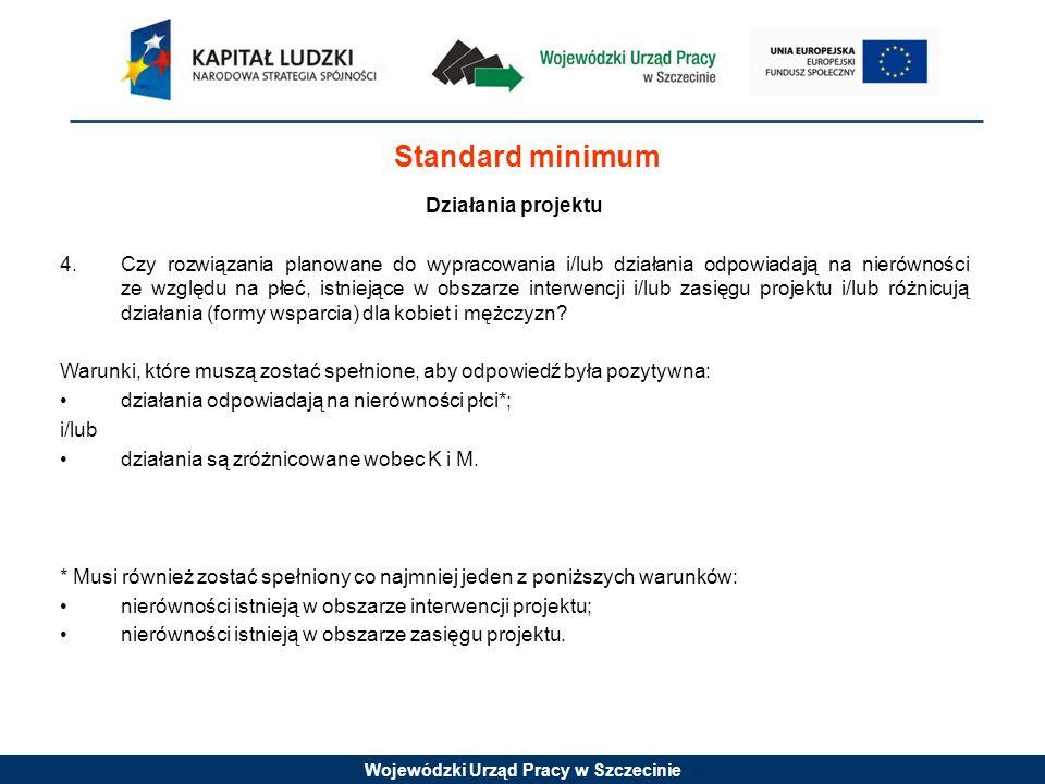 Wojewódzki Urząd Pracy w Szczecinie Standard minimum Działania projektu 4. Czy rozwiązania planowane do wypracowania i/lub działania odpowiadają na ni