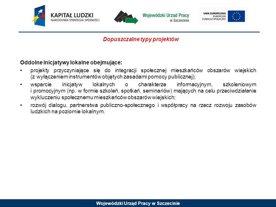 Wojewódzki Urząd Pracy w Szczecinie Dopuszczalne typy projektów Oddolne inicjatywy lokalne obejmujące: projekty przyczyniające się do integracji społe
