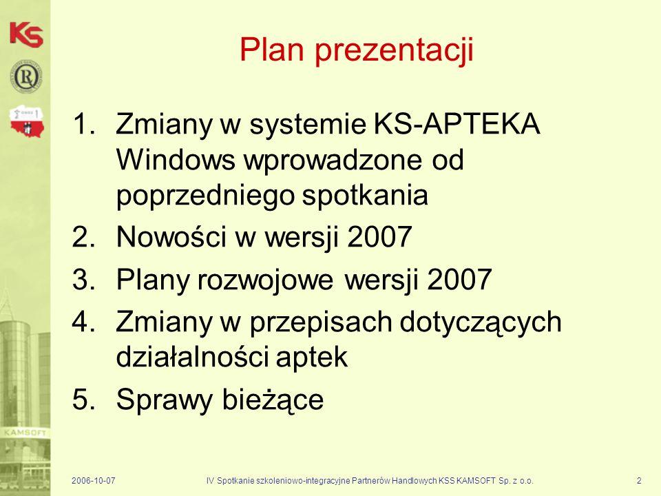 Zmiany w systemie KS-APTEKA Windows wprowadzone od poprzedniego spotkania