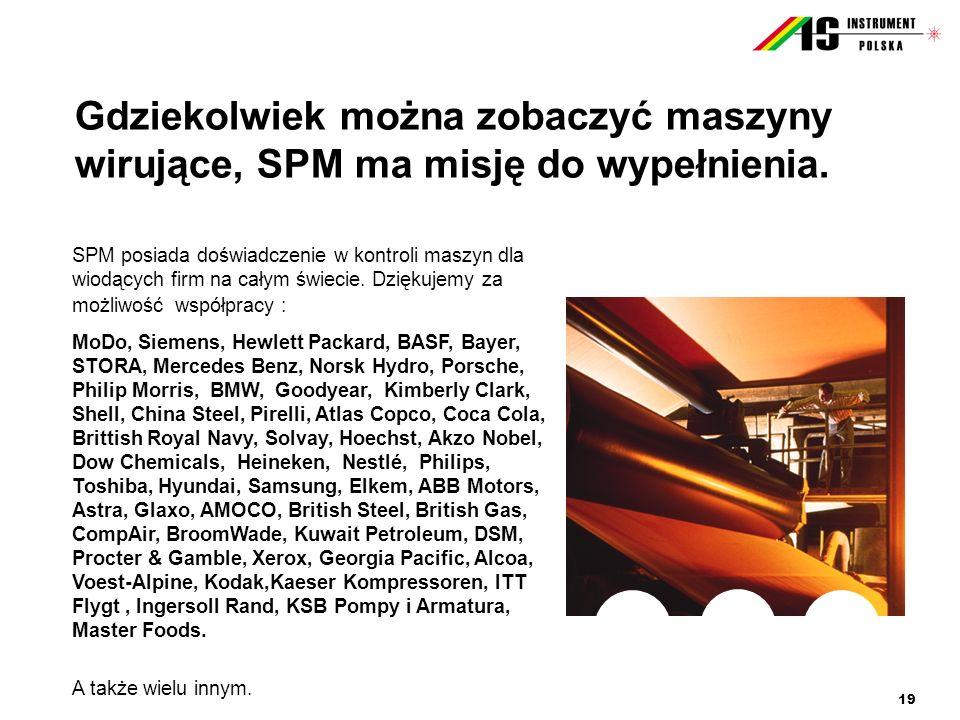 19 Gdziekolwiek można zobaczyć maszyny wirujące, SPM ma misję do wypełnienia. SPM posiada doświadczenie w kontroli maszyn dla wiodących firm na całym