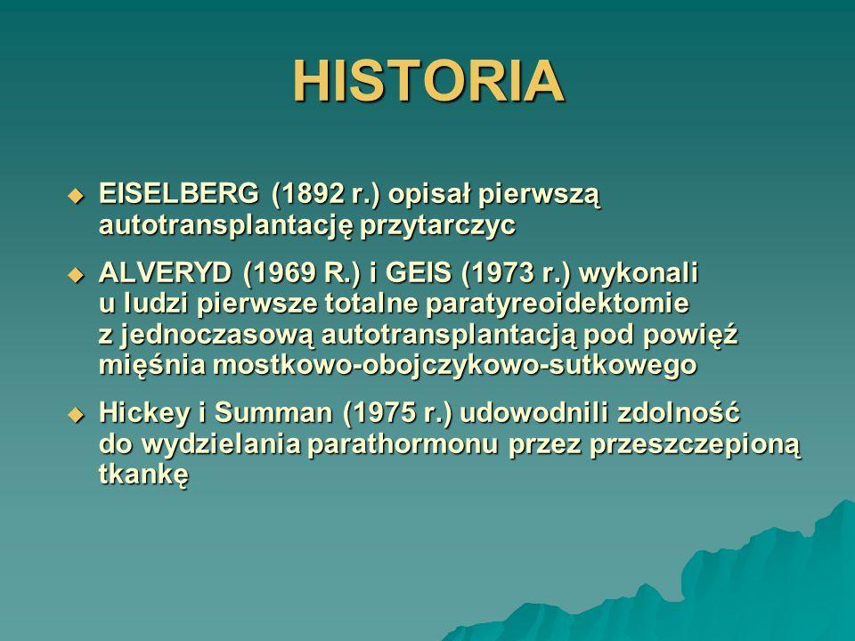 HISTORIA EISELBERG (1892 r.) opisał pierwszą autotransplantację przytarczyc EISELBERG (1892 r.) opisał pierwszą autotransplantację przytarczyc ALVERYD