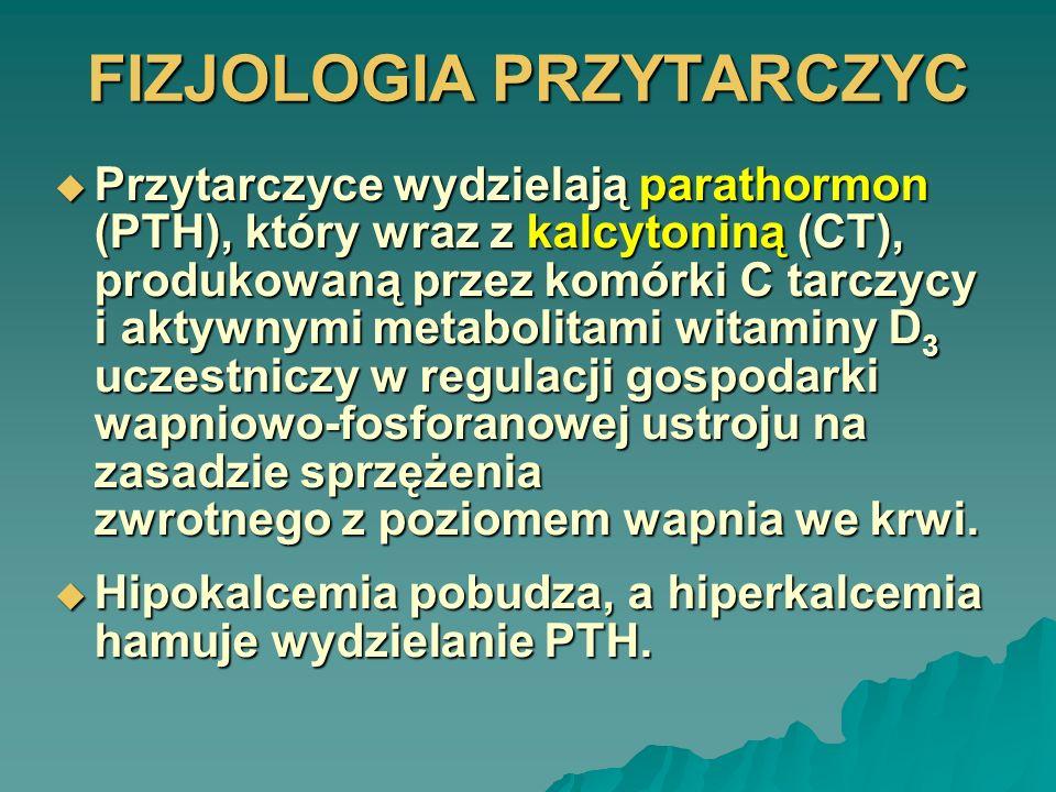 FIZJOLOGIA PRZYTARCZYC Najsilniejszym bodźcem powodującym wydzielanie kalcytoniny (CT) jest wzrost stężenia wapnia Najsilniejszym bodźcem powodującym wydzielanie kalcytoniny (CT) jest wzrost stężenia wapnia Zasadniczą rolą CT w organizmie jest obniżanie nadmiernego poziomu wapnia w osoczu; drugim efektem działania CT jest hipofosfatemia Zasadniczą rolą CT w organizmie jest obniżanie nadmiernego poziomu wapnia w osoczu; drugim efektem działania CT jest hipofosfatemia Kalcytonina i PTH przejawiają więc fizjologiczny antagonizm Kalcytonina i PTH przejawiają więc fizjologiczny antagonizm