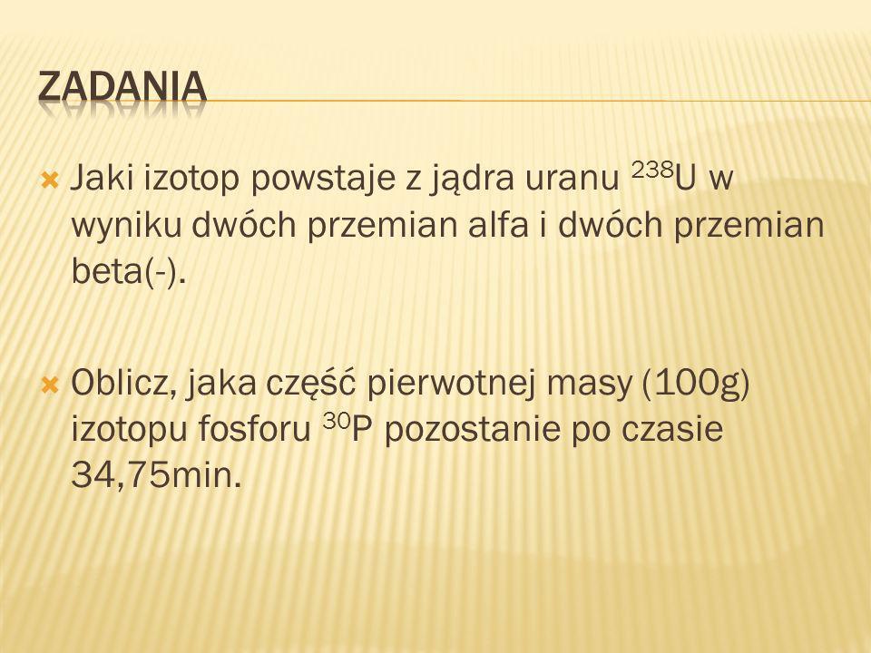 Jaki izotop powstaje z jądra uranu 238 U w wyniku dwóch przemian alfa i dwóch przemian beta(-).