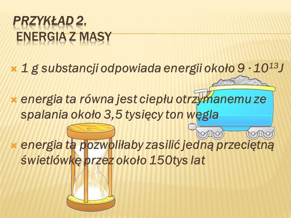 1 g substancji odpowiada energii około 9 · 10 13 J energia ta równa jest ciepłu otrzymanemu ze spalania około 3,5 tysięcy ton węgla energia ta pozwoliłaby zasilić jedną przeciętną świetlówkę przez około 150tys lat