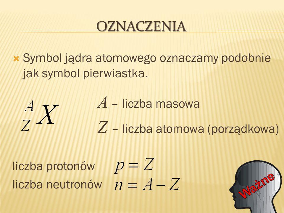 Symbol jądra atomowego oznaczamy podobnie jak symbol pierwiastka.