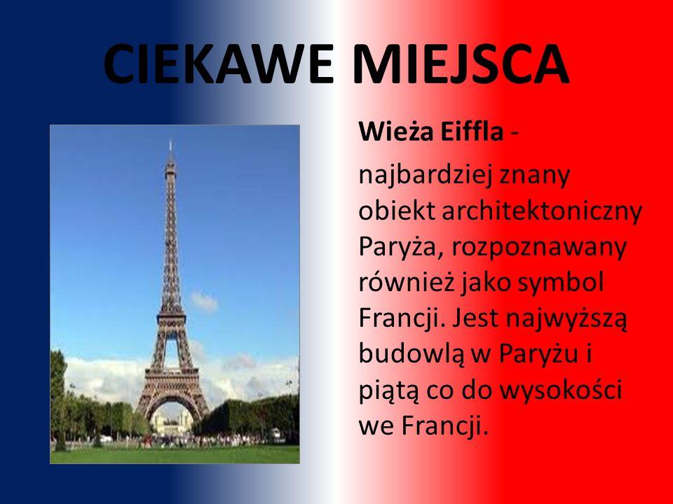 Wieża Eiffla - najbardziej znany obiekt architektoniczny Paryża, rozpoznawany również jako symbol Francji.