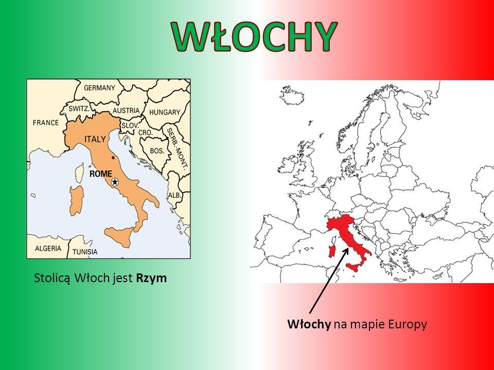 Włochy na mapie Europy Stolicą Włoch jest Rzym